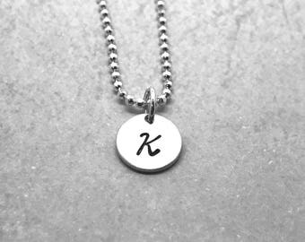 Initial Necklace, Sterling Silver, Letter K Necklace, All Letters Available, Hand Stamped Jewelry, Personalized Jewelry, Mother's Necklace