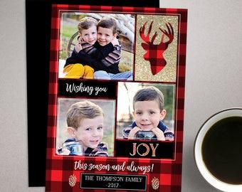 Buffalo Plaid Christmas Card, Printable Holiday Card, Christmas Photo Card, DIY design, rustic deer card, family card template