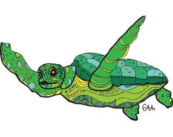 sea turtle illustration art print