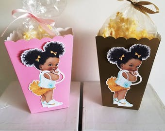 Afro Puffs Baby Snack Boxes - Set of 10 - Light Pink/Gold