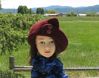 Current Berry Red Knit Felted Felt Hat Wool Split Brim