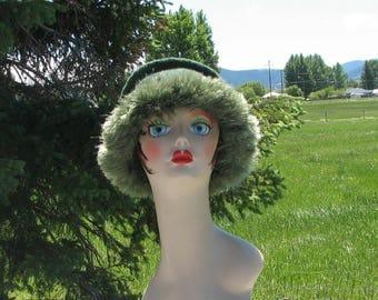 Knit Felt Forest Green Heather Wool Fur Trim Hat  Crusher