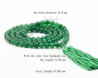 8mm Green Ayenturine Stone Meditation Yoga Tibet Buddhist 108 Prayer Beads Mala Necklace  ZZ019