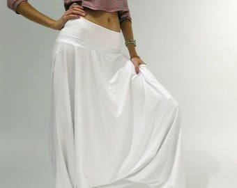 "Harem Pants Eco-friendly 100% Cotton Free Form Loose Kundalini Yoga Pants ""Glorka Ceremonial White LIGHT"". Handmade NY - LA."