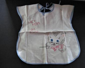 Vintage Baby Bib, Bib to Embroider, Unfinished Bib, Kitty Baby Bib, Cotton Bib, Cotten Baby Bib, Kitty Cotton Bib, Baby Food Bib, Baby Bib