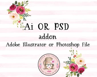 Ai Adobe Illustrator or PSD Photoshop File Addon to any of my premade logos