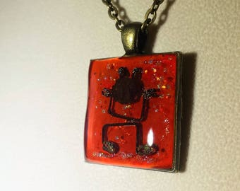 Little Red Dancer Hand Layered Enameled Red Orange Dancing Happy Man Upcycled Reclaimed Treasures Resin Pendant Cheerful Bronze Necklace
