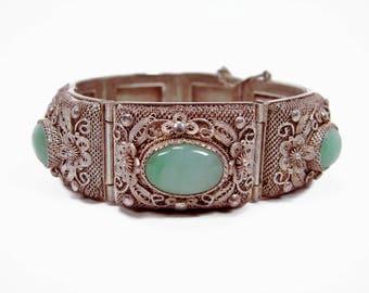 Vintage Chinese Export Jade Silver Bracelet, Filigree Silver, Art Deco, Green Jade, Antique Bracelet, Estate Jewelry