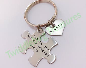 Thank You Key Chain - Hand Stamped - Puzzle Keychain - Puzzle - Thank You Gift