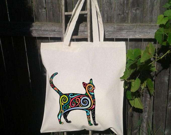 CatTote Bag, Reusable Tote Bag, Colorful Cat Tote, Grocery Bag, Kitty Tote Bag