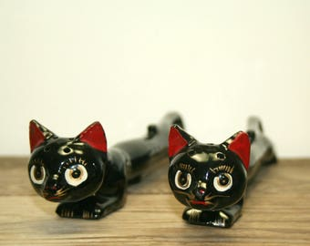 Vintage Stretch Cats Salt and Pepper Shakers
