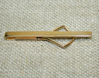 Vintage Swank Tie Bar Gold Tone,  Narrow Gold Tone Simple Slide on Tie Bar