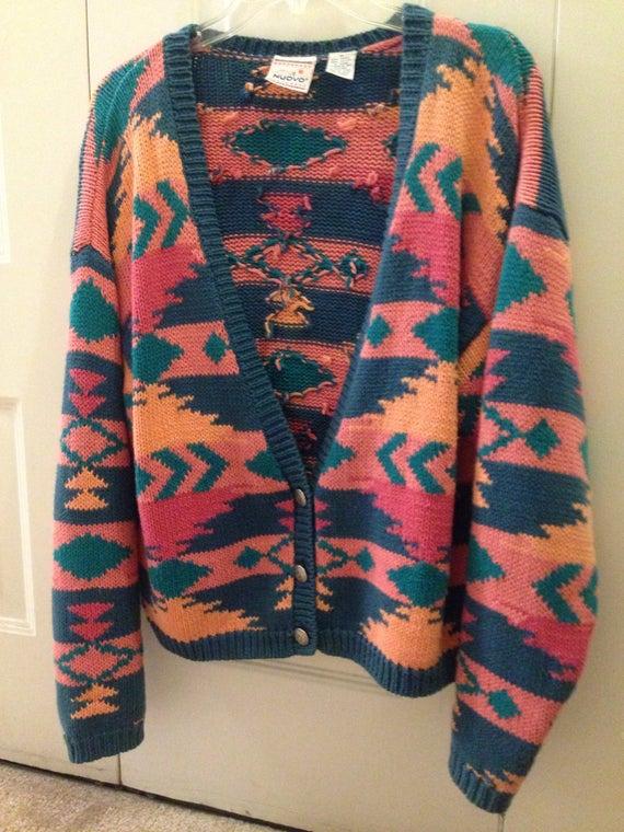 Green Cardigan Sweater Large V-Neck Button Down USA Puritan Capriseta 6M7xLq