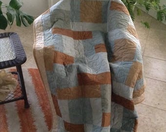 """Brown/Light Blue - 54"""" x 76"""" - Lizzie's Legacy/Quilting Treasures/Moda-Contemporary/Modern Quilt - Ready to Ship"""