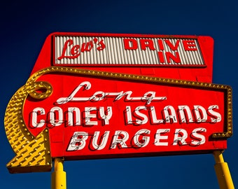 Portland Oregon Neon Sign Print | Lew's Drive In Neon Sign Art | Hot Dog and Hamburger Restaurant | Retro Kitchen Art | Portland Photography