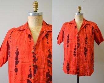 1950s Kamehameha Red Cotton Hawaiian Shirt