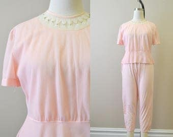 1960s Pink Women's PJs with Pearl Trim