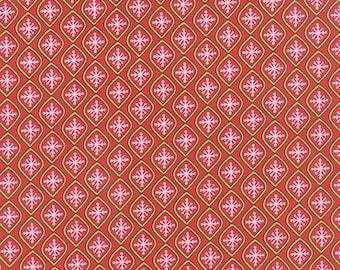 ON SALE Moda HO Ho Ho Deb Strain 1/2 Yard Santa Suit Red Snowflake Bulbs 19705-11