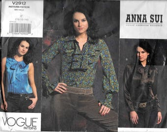 Vogue V2912 Anna Sui Blouse Ruffles Pleats Soft Bow Evening Sewing Pattern UNCUT Size 10, 12, 14