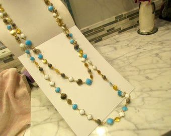 """Best of the Best: 92"""" Long TURQUOISE, White CHALCEDONY, LABRADORITE Clover; Labradorite Rounds, 24K Gold Plate Art Deco Necklace/Belt"""