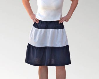 Navy Blue gathered skirt and white pure cotton double ruffles