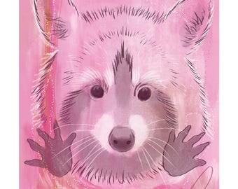 12x16 Inch Nursery Print - Racoon, Pink