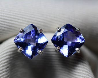 Tanzanite Earrings, Certified 4.88 Carat Cushion Cut Stud Earrings, Sterling Silver, Birthday Anniversary Christmas Gift, Blue Tanzanite