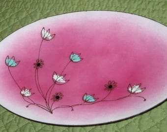 Gerte Hacker Signed 1950's Copper Enamel Oval Curved Plate Pink White Background with Flowers Gold Foil