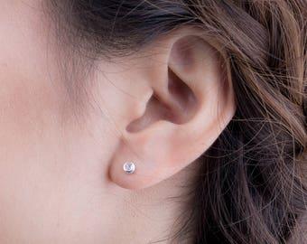 Tiny Moonstone Stud Earrings, Sterling Silver Gold Plated, Gemstone Earrings, Minimal Lunaijewelry, Handmade, Gift , STD075MOO