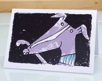 Shake hands - whippet card, whippet birthday card, dog card, dog birthday card, greyhound card, greyhound birthday card, dog greeting card