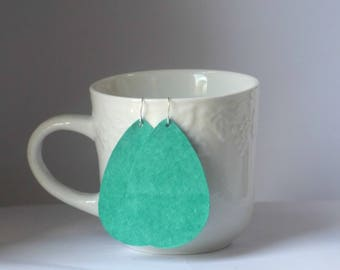 Turquoise Green Suede Leather Teardrop Drop Earrings