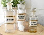 Vintage apothecary bottles - Listerine bottle - cotton bottle - peppermint bottle - vintage glass bottle