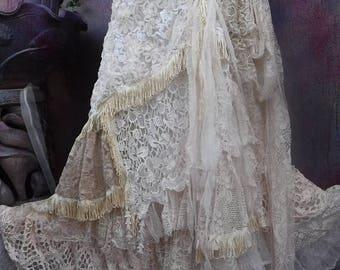 20%OFF wedding, bridal,tattered skirt, boho, fantasy, stevie nicks, bohemian skirt, gypsy skirt, woodland, lace skirt, bellydance,s, m