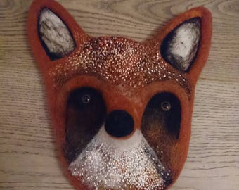 Handmade Needlefelted Fox Head Wallhanging Art Forest Woodland Cute