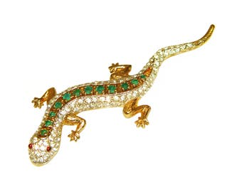 Vintage Panetta Brooch, Rhinestone Lizard, Rare, Collectible, Signed, 1960s
