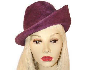 Vintage Adolfo Hat, Plum Purple Faux Fur, Fabulous Feather and Hat Pin, Chic Mod, Vintage 1960s