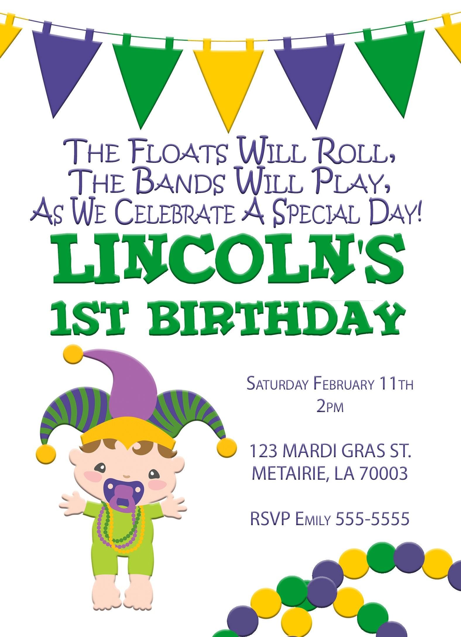 Mardi Gras Birthday Party Invitation, Mardi Gras Party, Parade ...