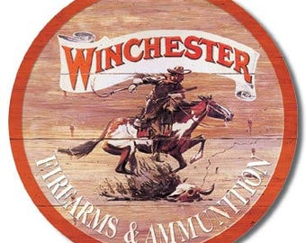 "Winchester firearms & Ammunition vintage style metal sign guns  hunting 2nd amendment approx. 12"" x 12"" round"
