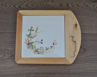 Vintage china and wooden board - Harvest pattern