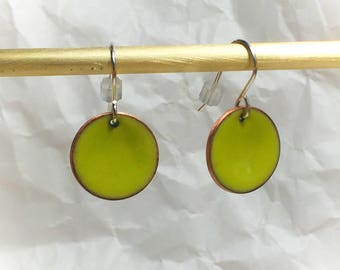 Bright green circles hand made enamel earrings