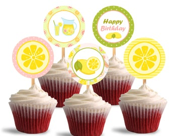 Pink Lemonade Cupcake Toppers, Birthday Printable Cupcake Toppers, Lemonade Theme Party Decorations - Instant Download - DP472