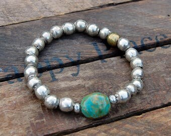 Ethiopian Silver Bead Bracelet - Turquoise