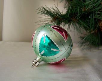 Vintage Christmas Ornament Green Glass Ball Patchwork Ornament Christmas Tree glass Ornament Green Holiday Ornament Vintage 1950s