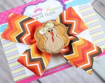 Baby Bows, Toddler Bows, Girls Hair Bows, Fall Turkey Hair Bow, Thanksgiving Hair Bow Headband, Brown Orange Red Hair Bow, 5 Inch Hair Bow