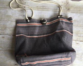 Vintage Cotton Tote - Purse Festival Bag - Gray Orange