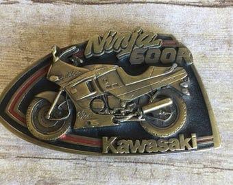 Vintage 1992 Kawasaki Ninja 600r Motorcycle Pewter Belt Buckle - Made in the USA