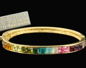 Vintage Bijoux Givenchy Rainbow Princess Cut Rhinestone Bangle Bracelet 6 1/2""