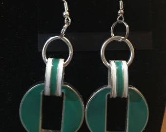 Retro green and white Dangle Earrings Handmade hypoallergenic and nickel free