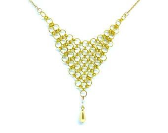 Gold Chainmaille Statement Bib Necklace