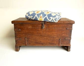 Teak Campaign Chest Antique Rustic Chest India Trunk